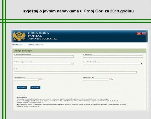Godišnji Izvještaj o javnim nabavkama u CG za 2019. godinu